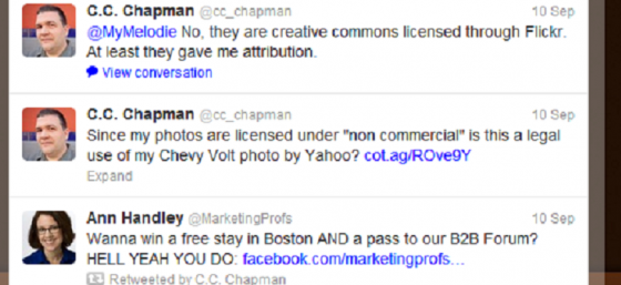 Portion of C.C. Chapman's Twitter feed - September 10, 2012