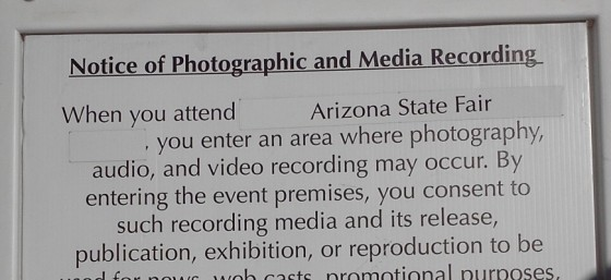 Notice Posted at the Arizona State Fair - October 27, 2013
