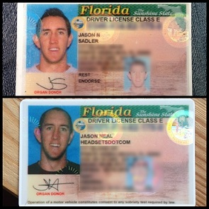 Jason's Driver's License Before and After (Used with permission from jasonsadler.com)