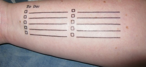 "My ""To Do"" List: Yay for functional tattoos! by robstephaustralia from Flickr (Creative Commons License)"