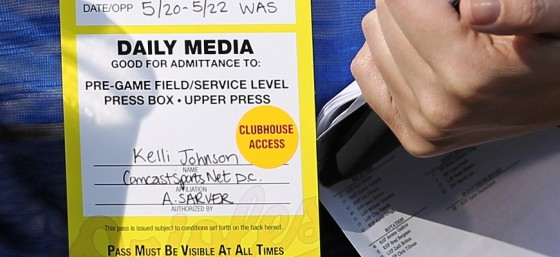 Kelli Johnson Orioles Media Pass by Keith Allison from Flickr (Creative Commons License)