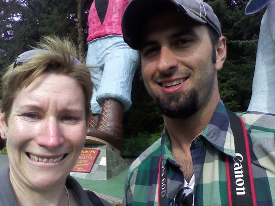 Dylan and Me at the Trees of Mystery - look at giant Paul Bunyan in the background!