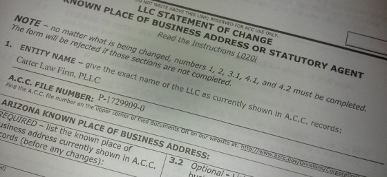 A.C.C. Statement of Change Paperwork for Carter Law Firm