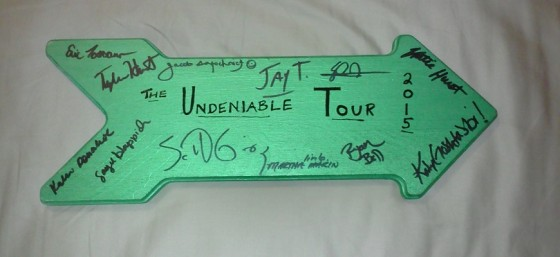 I asked all the social media movers and shakers that I met during The Undeniable Tour to sign the arrow