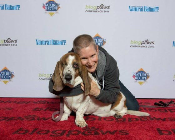 Rosie and I were happily the most underdressed on the BlogPaws red carpet. (Photo by Silver Paw Studio, used with permission)